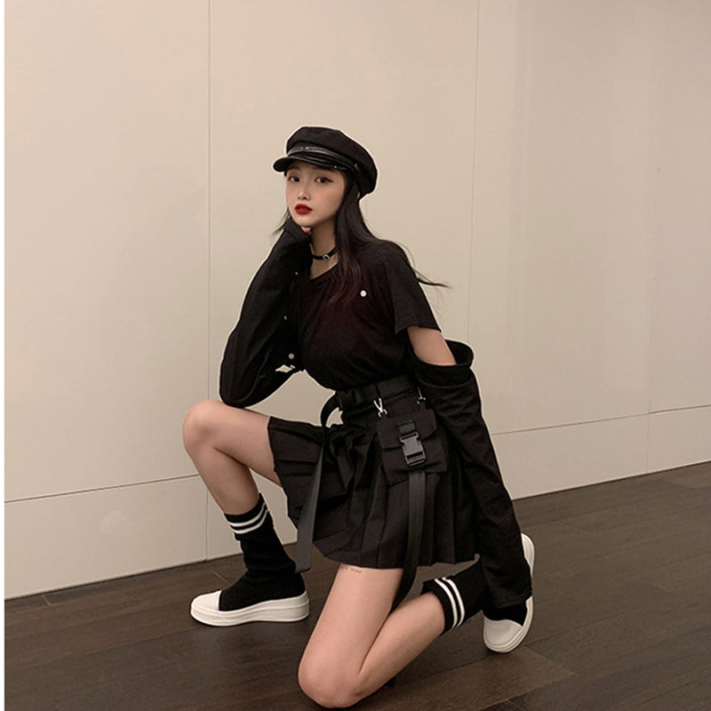 Spring street personality style was thin high waist A-line skirt pure black pleated skirt tooling fashion casual student skirt w