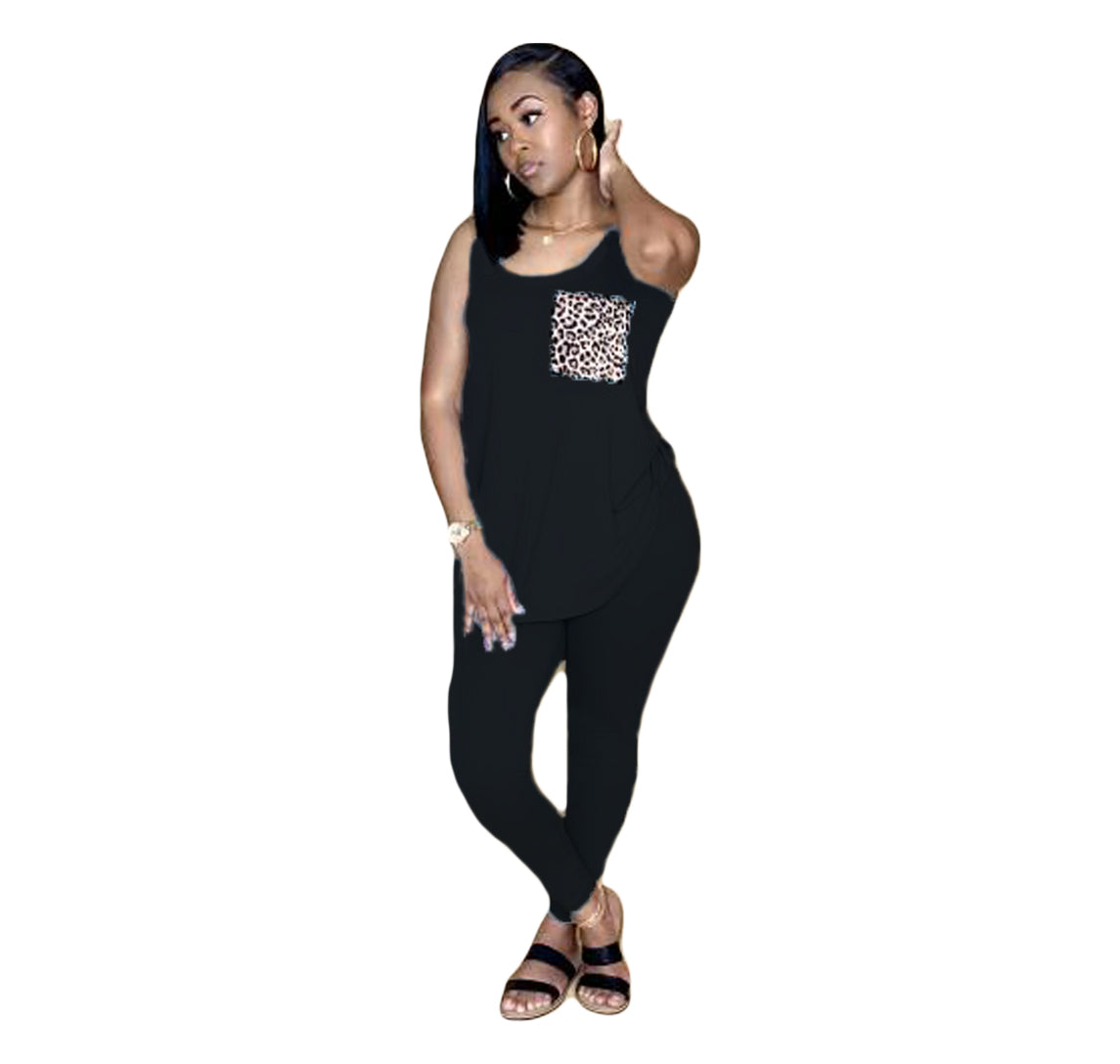 2020 Women Two Pieces Sets Summer Tracksuits Sleeveless O-Neck Tops+Pants Suit Sporty Fitness Leopard Outfits 2 Pcs Street G8221