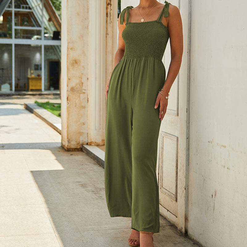 able Women's Summer Sling Solid Color Straight Pants Cotton Thin Loose Jumpsuits Bohemian Temperament Commuter Clothing