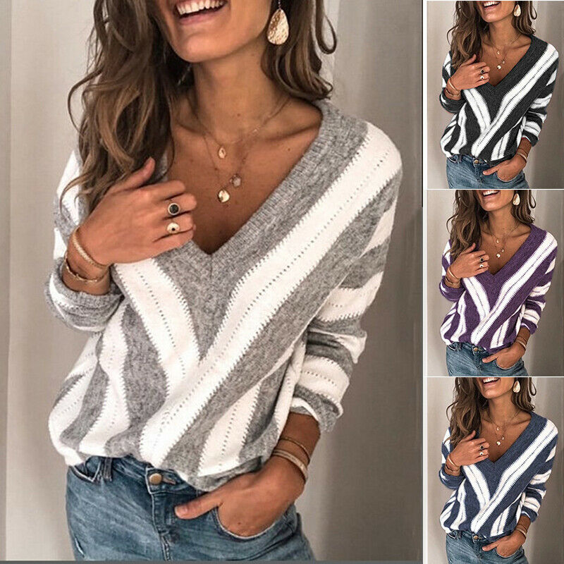 2020 Women Sweater Autumn V Neck Long Sleeve Sweater OL Loose Knit Pullover Jumper Tops Striped Ladies Sweaters Casual Pullovers