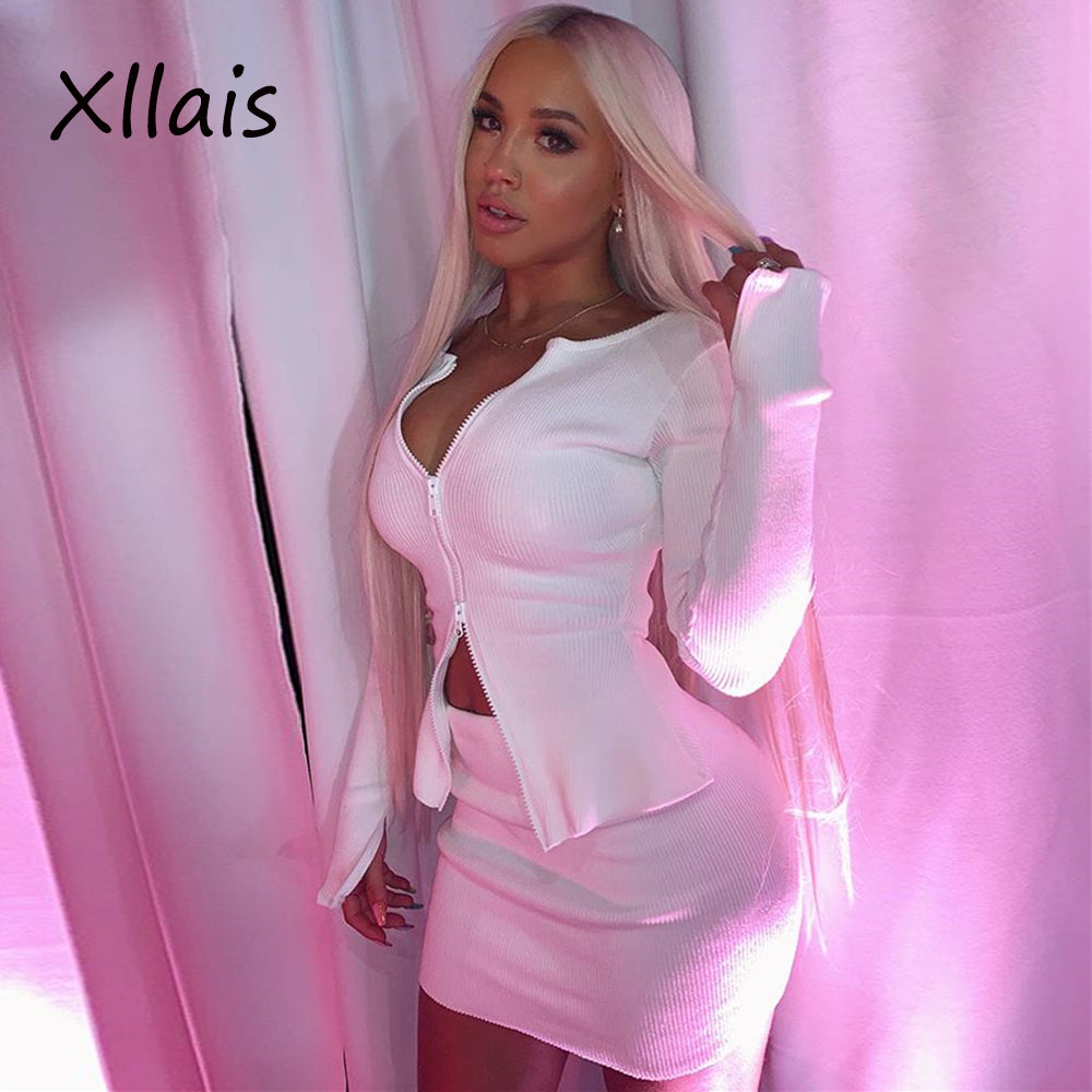 XLLAIS 2019 New Summer Solid White High Street Two Piece Sets Women Long Sleee Zippers Top and Mini Short Skirt Matching Sets