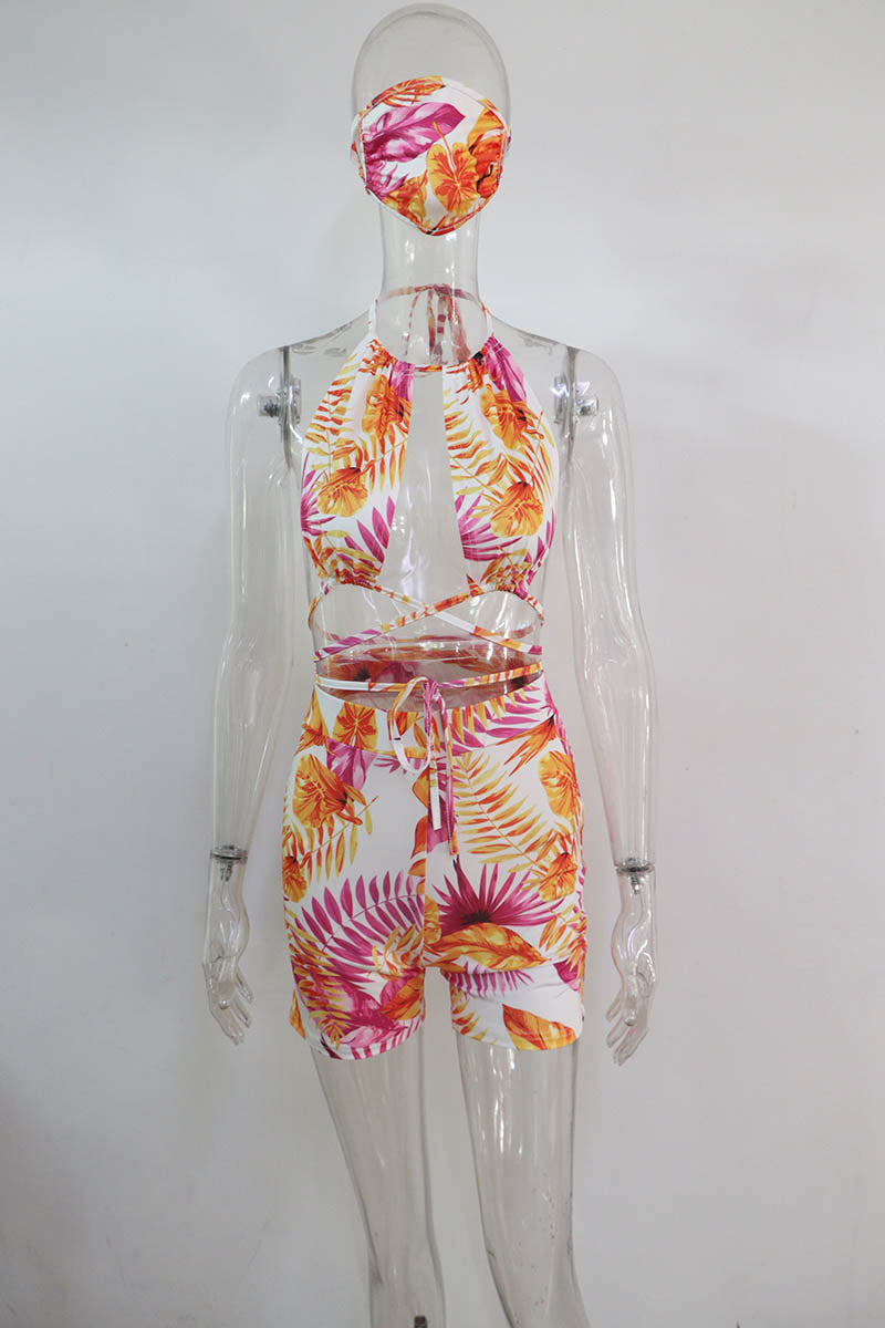 Beyprern Tie Dye Tracksuit Set Two Pieces With Masks Women Summer Suits Bohemian Flroal Bandage Crop Top And Shorts Set