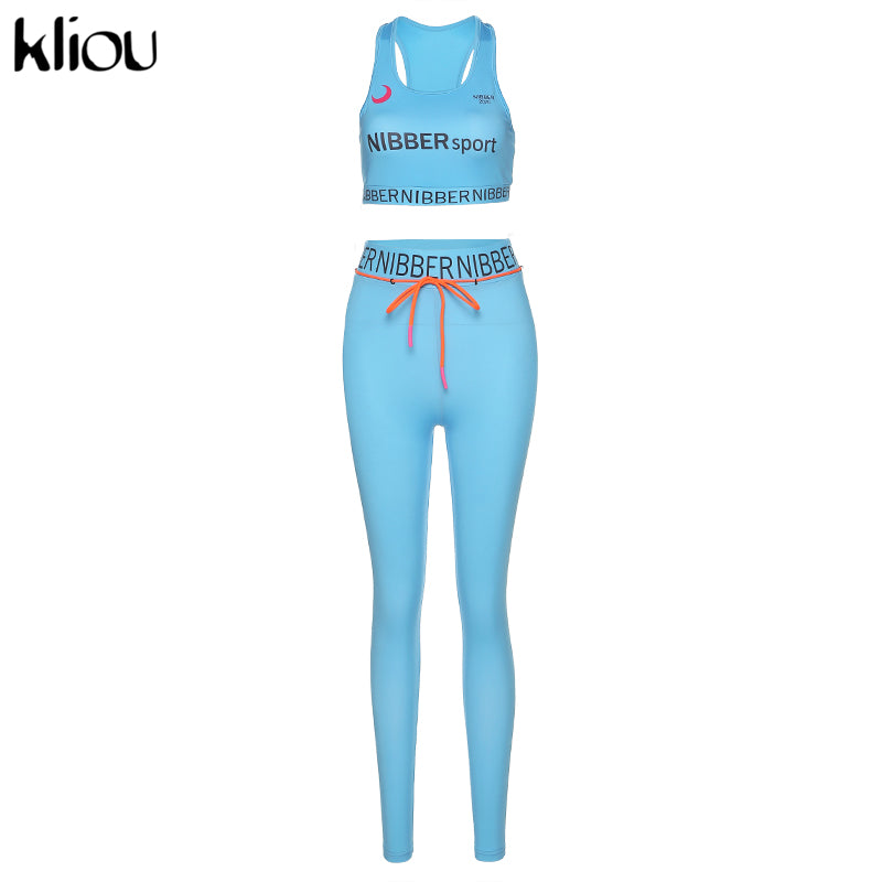 kliou women outfits skinny stretch two pieces set High elastic fitness tracksuit skinny stretch outwear slim Leggings Sportswear