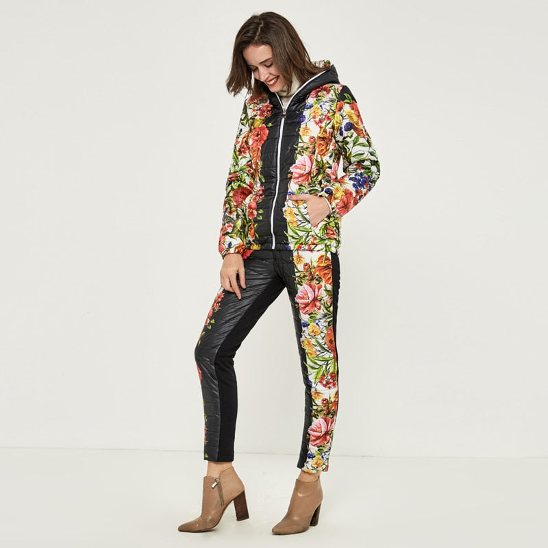 HEE GRAND Winter Jacket Women Casual Flower Printed Hooded Warm Basic Parka Suits (Coat+Pants Sets ) Winter Outwear WAT270