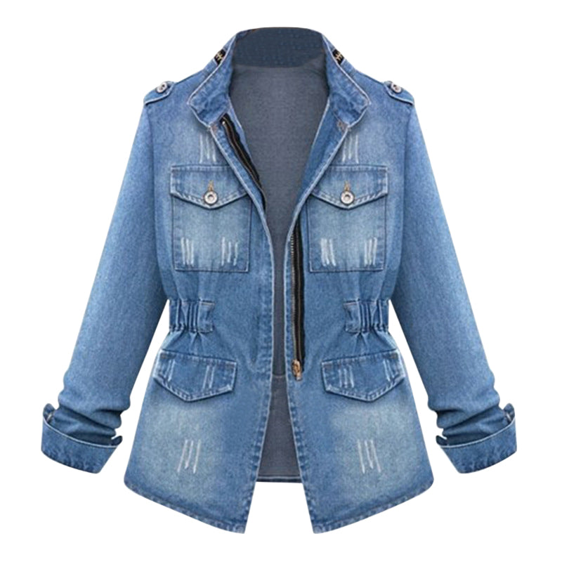 HEFLASHOR Women Casual Denim Jackets Cardigan Zipper Casaco Feminino Coat Pockets Top Streetwear Slim Elastic Waist Jeans Jacket