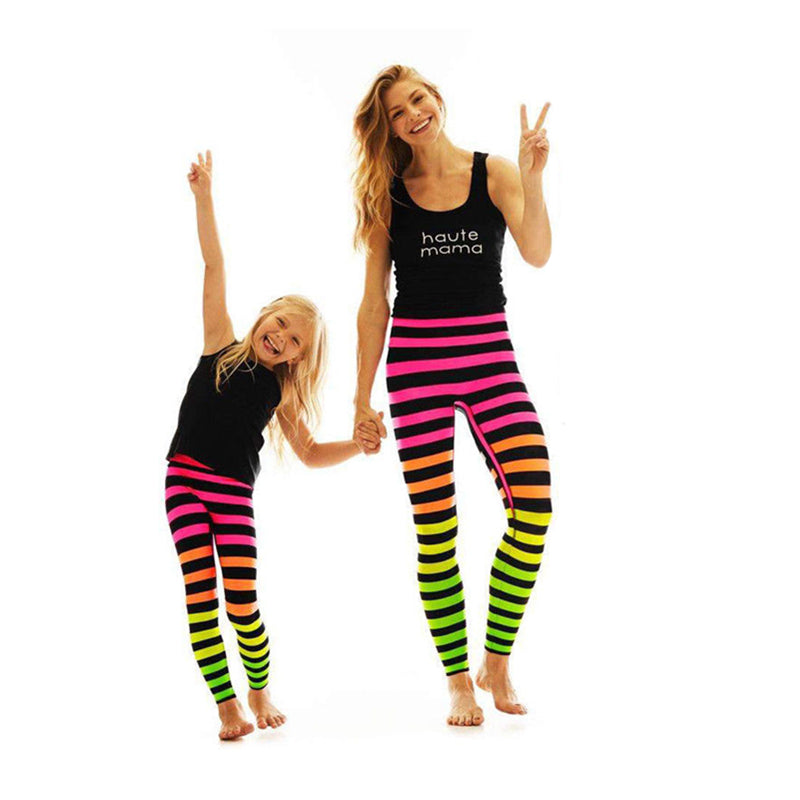 Family Matching Mom Kid Adult Multi-color Striped Women Yoga Pants Fitness Leggings Running Gym Workout Stretch Sport Pants
