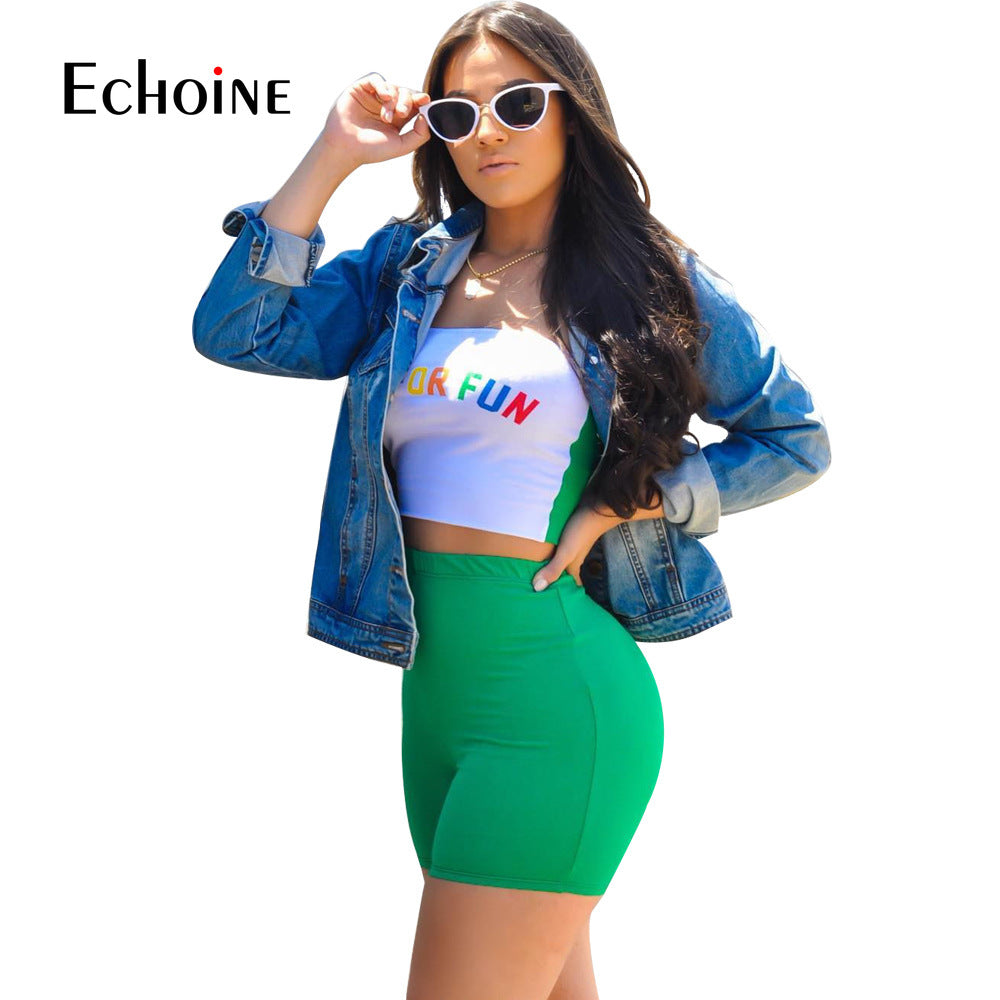 2020 Summer Two Piece Outfits for Women Letter Print Sexy Set Crop Top and Short Pants Club Matching Sets biker shorts Plue suze