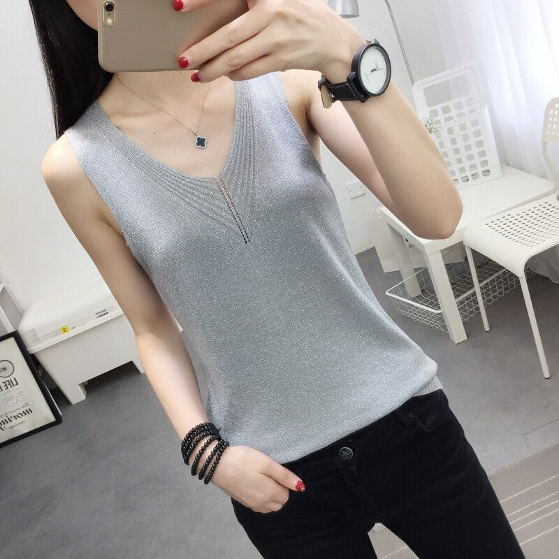 Knit Camis Top Women Knitting Tank Tops Camises Girls V-neck Basic Knitwear Camisole Sleeveless Sweater T-shirts Top For Woman