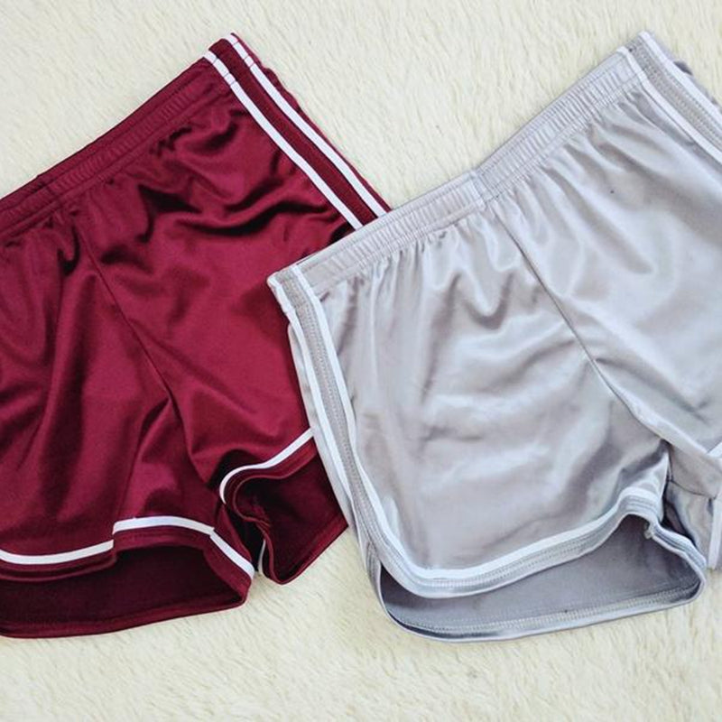 Sexy Women Satin Silk High Waist Running Sports Shorts Gym Workout Waistband Hot Shorts
