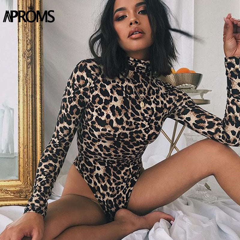 Aproms Multi Leopard High Neck Bodycon Bodysuits Female Vintage Animal Print High Waist Bodysuit Casual Top for Women Clothing