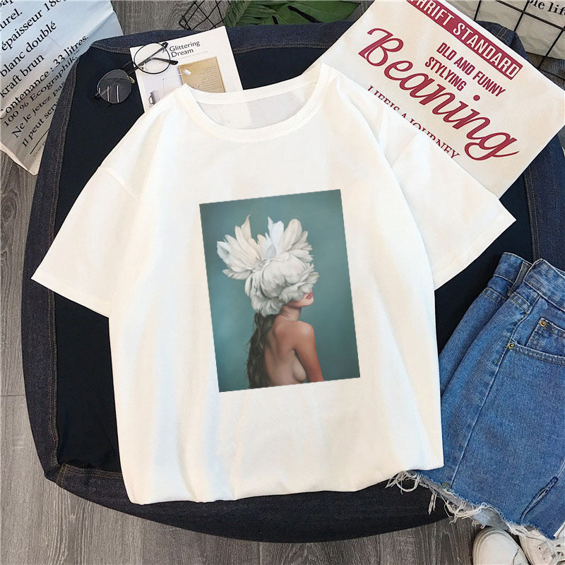New Cotton Harajuku Aesthetics Tshirt Sexy Flowers Feather Print Short Sleeve Tops & Tees Fashion Casual Couple T Shirt Women
