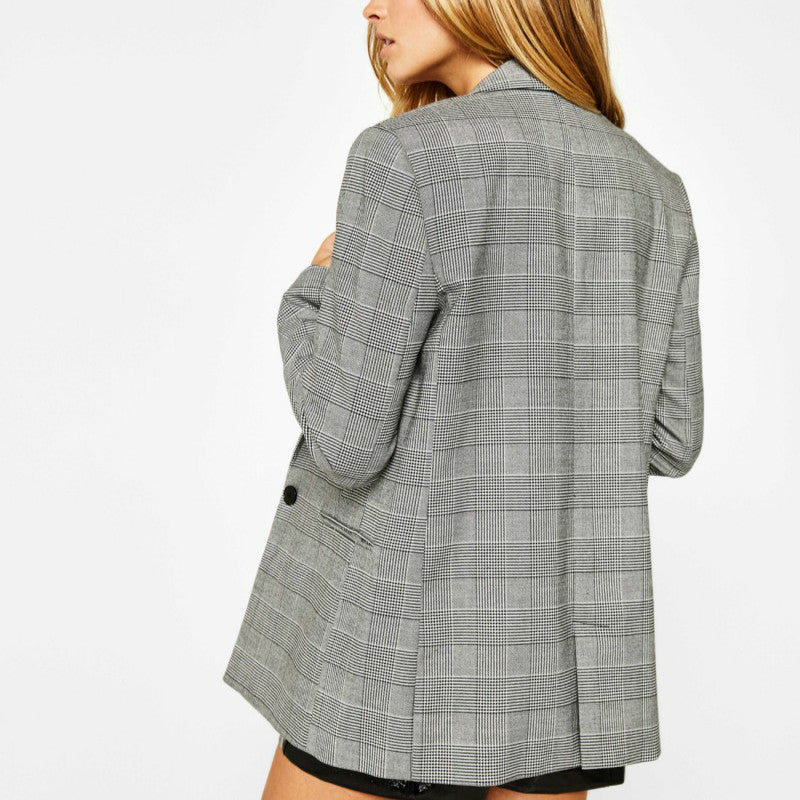 Elegant Autumn V-Neck Turn-Down Collar Slim Plaid Blazer Jacket Long Sleeved Checked OL Woman Suits Slim Casual buckles Coat
