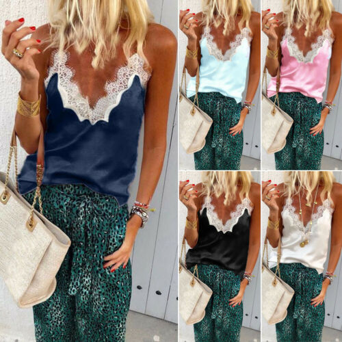 Women Ladies Summer Casual Silk Satin Chiffon Sleeveless Lace Mesh Loose Vest V-Neck Cami Soft Tank Top Black White Pink Blue