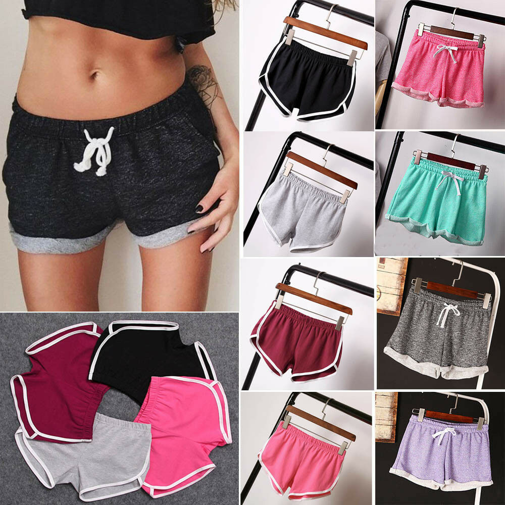 Summer Women Casual Running Sports Shorts Waistband Elastic Waist Shorts Fashion Hot Female Girls Cotton Solid Loose Shorts