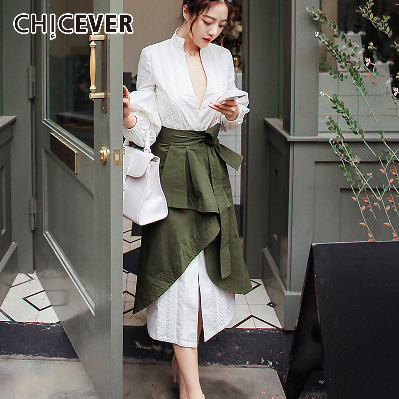 CHICEVER Autumn Two Pieces Set Women Suit Puff Sleeve White Shirt With High Waist irregular Midi Skirt Clothes Fashion Korean