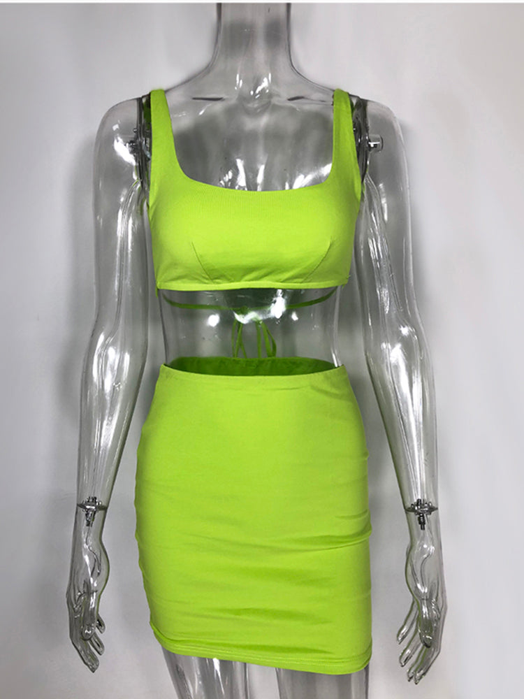 NewAsia Neon Green Two Piece Set Sexy Backless Lace Up 2 Piece Set Women 2019 Summer Mini Skirt Set Two Piece Outfits 2 Layers