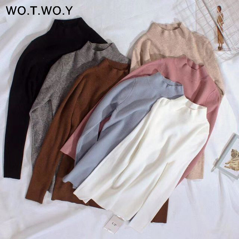 WOTWOY 2020 Cashmere Knitted Women Sweater Pullovers Turtleneck Autumn Winter Basic Women Sweaters Korean Style Slim Fit Black