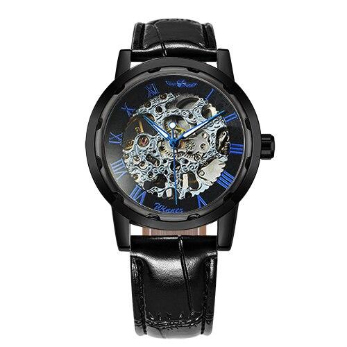 Ladies Watch Top Luxury WINNER Unisex Mechanical Wrist Watches for Men Hand-wind Roman Number Leather montre femme