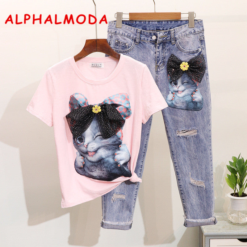 ALPHALMOD European American Fashion Studded Cute Cartoon Cat Short-sleeved T-shirt Tidy Ripped Jeans Trousers Trendy Clothes