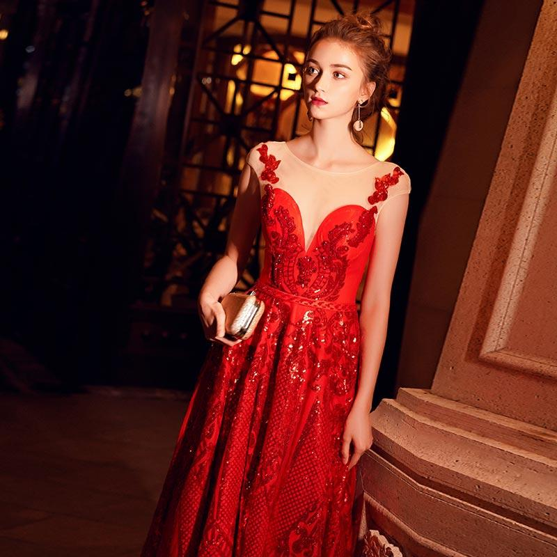 FADISTEE New arrival evening elegant prom dresses Vestido de Festa gown Robe De Soiree lace A-line scoop neck sleeveless red