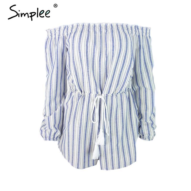 Sexy off shoulder blue striped women jumpsuit romper Summer beach short Casual lining overalls-ROMPERS & JUMPSUITS-SheSimplyShops