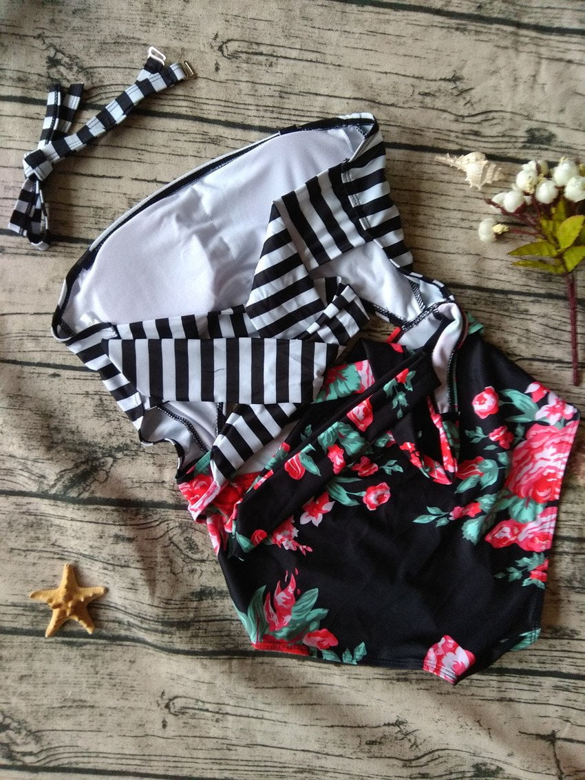 Women Green Leaf Print Swimsuit Striped High Waist Bottom Swimsuit Print Swimwear One Piece Swimsuit-Bottoms-SheSimplyShops