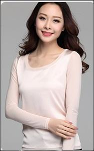 Autumn women blouses casual chiffon silk blouse slim long sleeve O-neck tops shirts