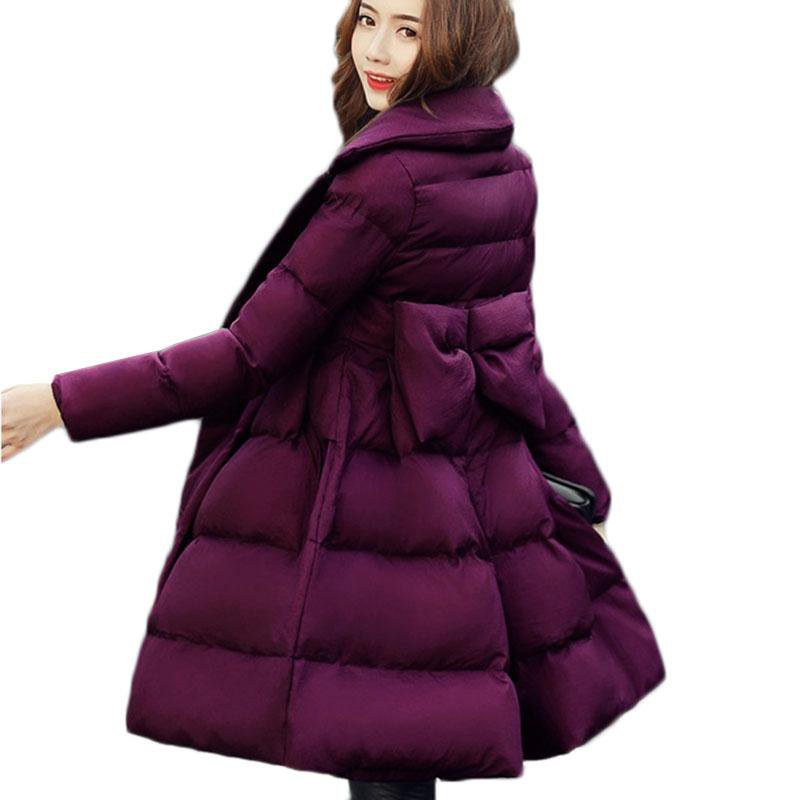 Women Winter Parkas Jacket Warm Cotton Coat Big Pendulum Bow Down Cotton Jacket Slim Large Size Women Outerwear 412