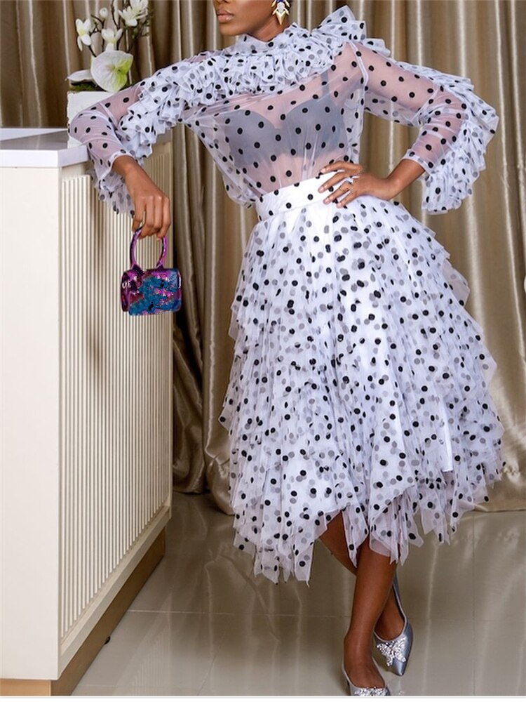 2 Pieces Sets Women Blouse Skirts Polka Dot Suits Ruffles Thin Transparent Shirts Elegant Tutu Jupes Lady Summer Spring