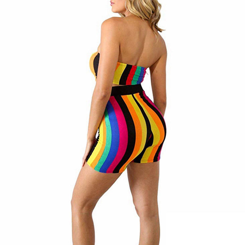 Womens Sexy 2 Piece Outfits Bodycon Stripe Print Sleeveless Tube Crop Top and Shorts Suits