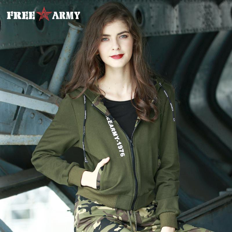 Women Hoodies Military Green Knitting Jacket Cotton Zipper Hoodie With Contrast Color Women's Hooded Jackets-Coats & Jackets-SheSimplyShops