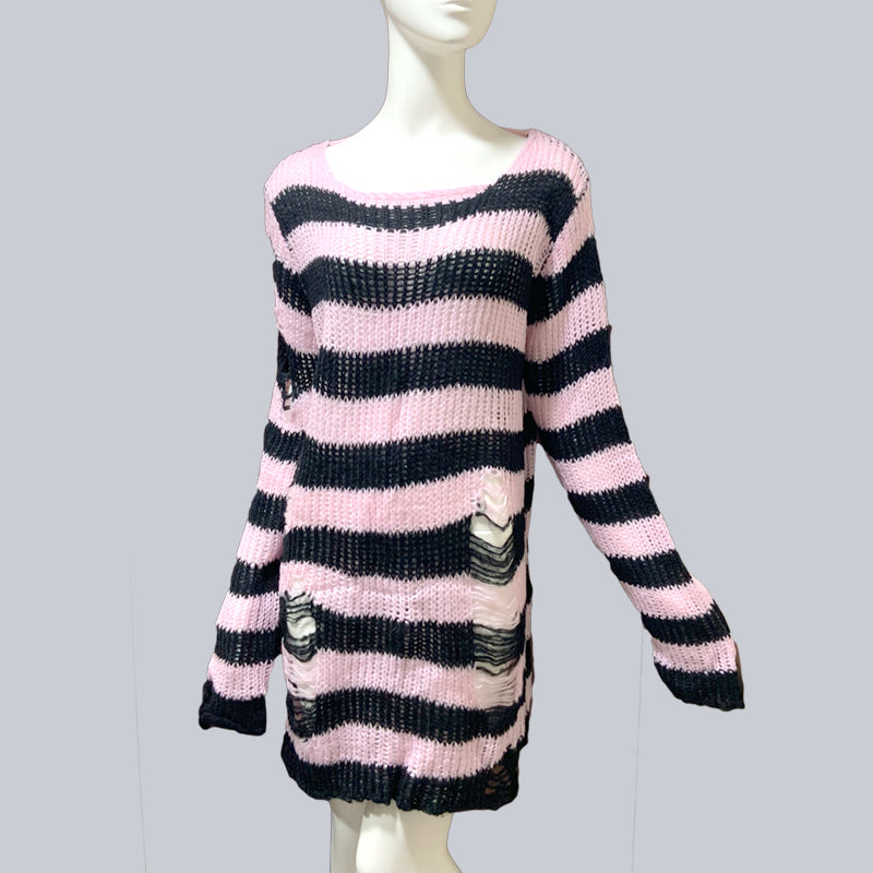 Plus Size Punk Gothic Long Unisex Sweater Dress Women Man Striped Cool Hollow Out Hole Broken Jumper Loose Rock Thin Sweter 2020