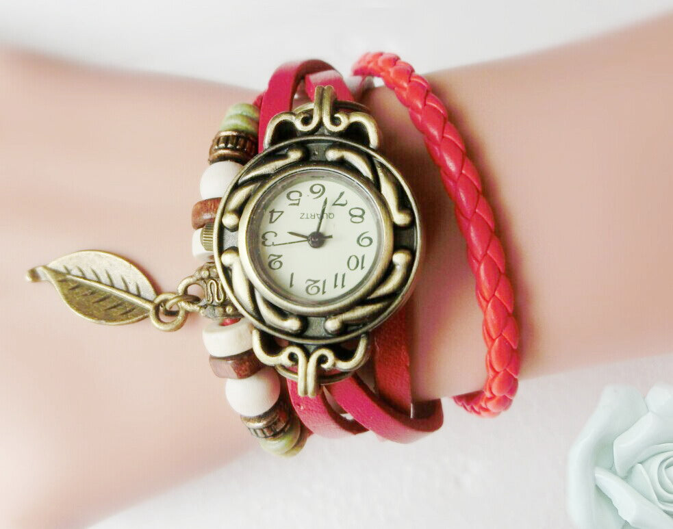 Multicolor Women Genuine Leather Vintage Quartz Dress Watch Bracelet Wristwatches leaf gift Christmas