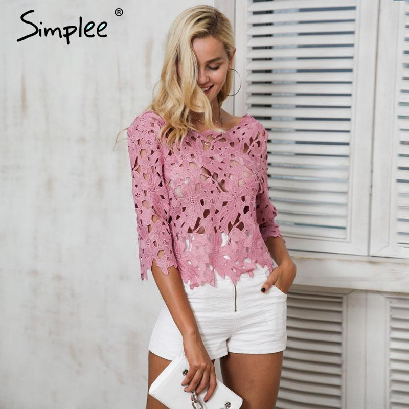 Backless lace blouse shirt women tops Summer hollow out white shirt blouse chemise Elegant sexy flower-Bottoms-SheSimplyShops