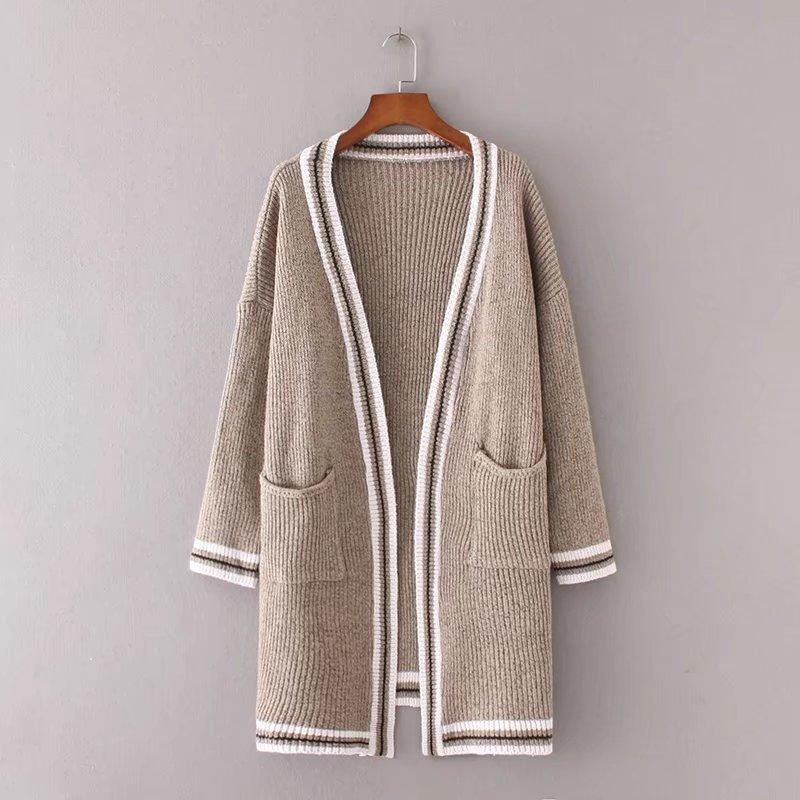 Cardigans Autumn Winter Sweater Women Hit Color Long Cardigan Long Sleeve Knitted Sweaters-SWEATERS + CARDIGANS-SheSimplyShops
