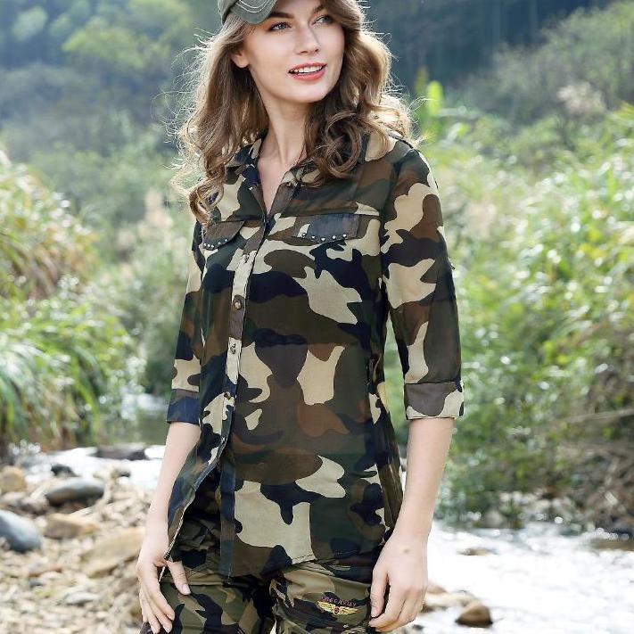 Army Women's Camouflage Chiffon Shirts Tops Tees Five Sleeves Designer Fashion Casual Shirts Sexy Blouse Ladies-Blouse-SheSimplyShops