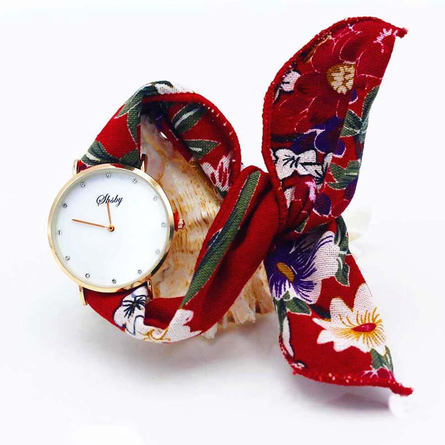 Shsby Brand new style Ladies flower cloth wristwatch Women Dress Watch Fashion girl Casual Quartz Bracelet watches fabric clock