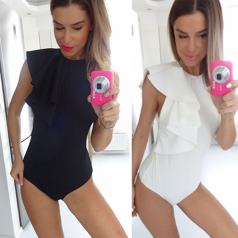 New women's sexy Ruffles Bodysuit Bodycon romper&jumpsuit party playsuit casual