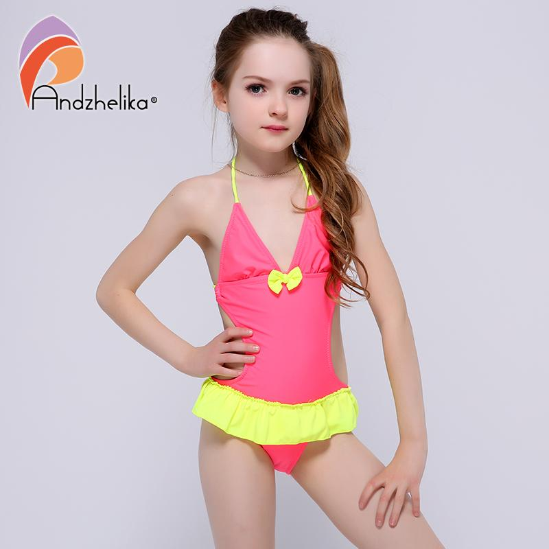 Andzhelika Summer Children's Dress Swimsuit One piece 2017 New Solid Patchwork Bodysuit Children Kids bow-knot Beach swimsuit-Dress-SheSimplyShops