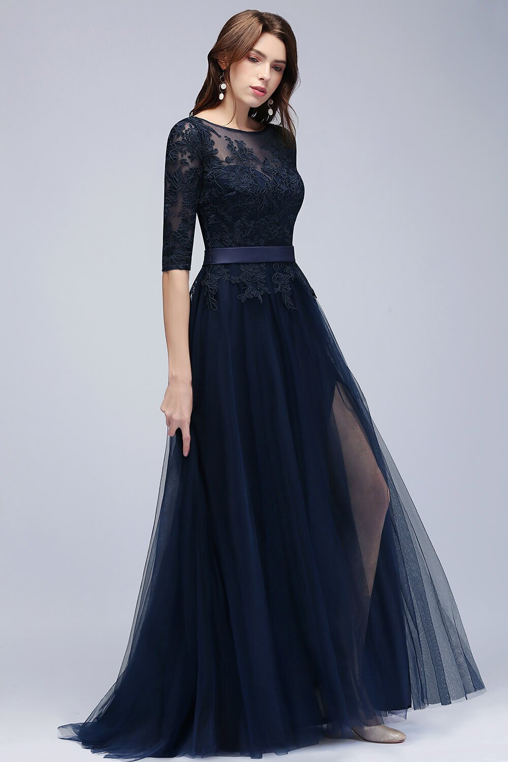 New Arrival Navy Blue Lace Long Evening Dress  Elegant Half Sleeve Tulle Evening Gowns with Sashes Robe de Soiree Longue