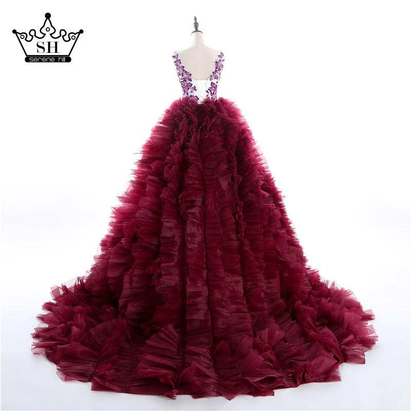 New Design Bridal Burgundy Wedding Dress Ruffles Beading Crystal-Dress-SheSimplyShops