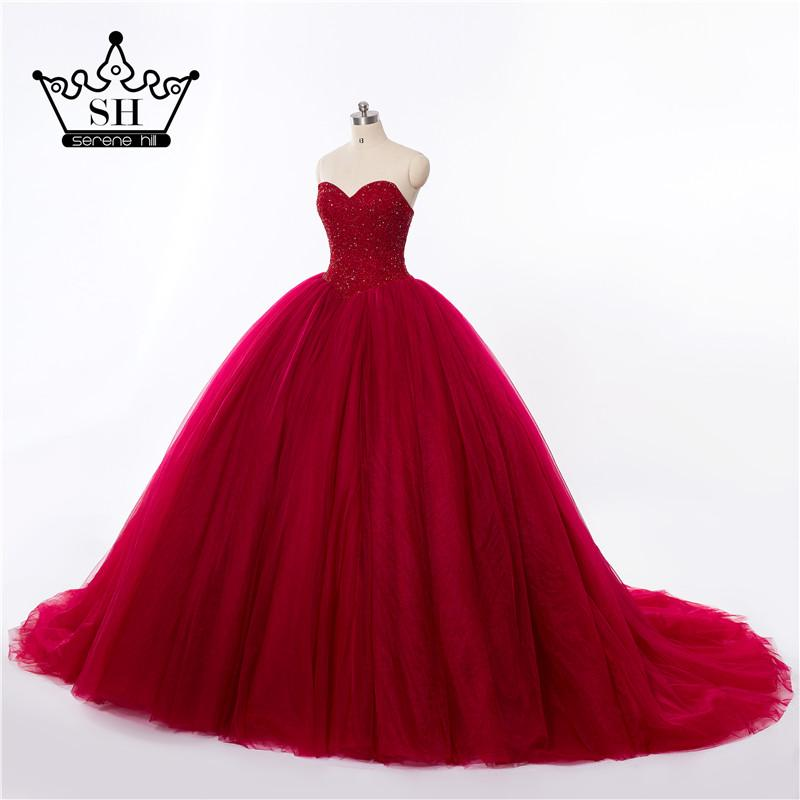 Real Picture Luxury Burgundy Crystals Ball Gown Wedding Dress Bridal Dress Robe Wedding Gown-Dress-SheSimplyShops