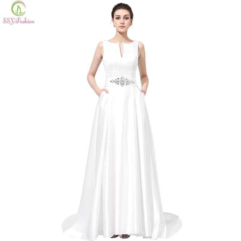 Bridal Luxury White Satin Long Evening Dress Sexy Backless Sleeveless Waist With Crystal Party Gown Custom Prom Dress-Dress-SheSimplyShops