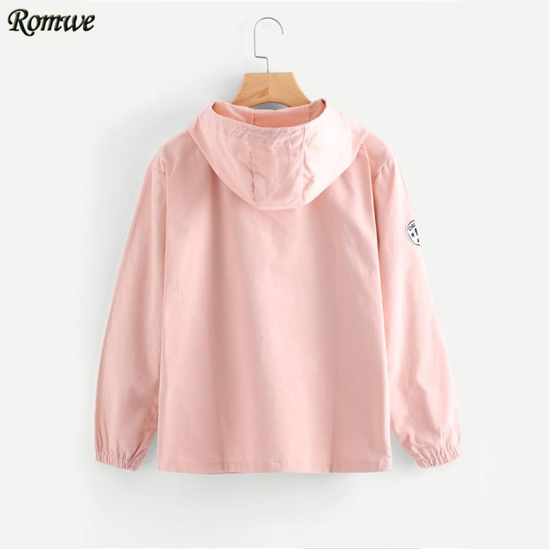 Pink Zip Up Hooded Jacket Women Cute Patch Long Sleeve Windbreaker Autumn Coat Fashion Basic Pockets Casual Jacket-Bottoms-SheSimplyShops
