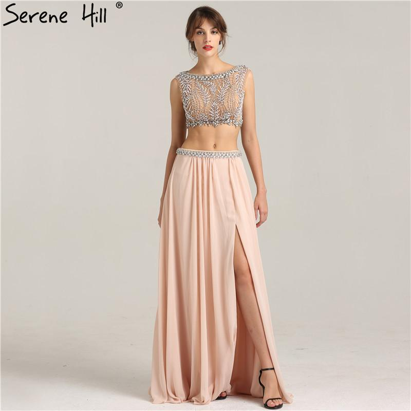 Sleeveless Sexy Beach Crop Top Prom Dress Crystal Pearls Two Piece Fashion Evening Gwons-Dress-SheSimplyShops