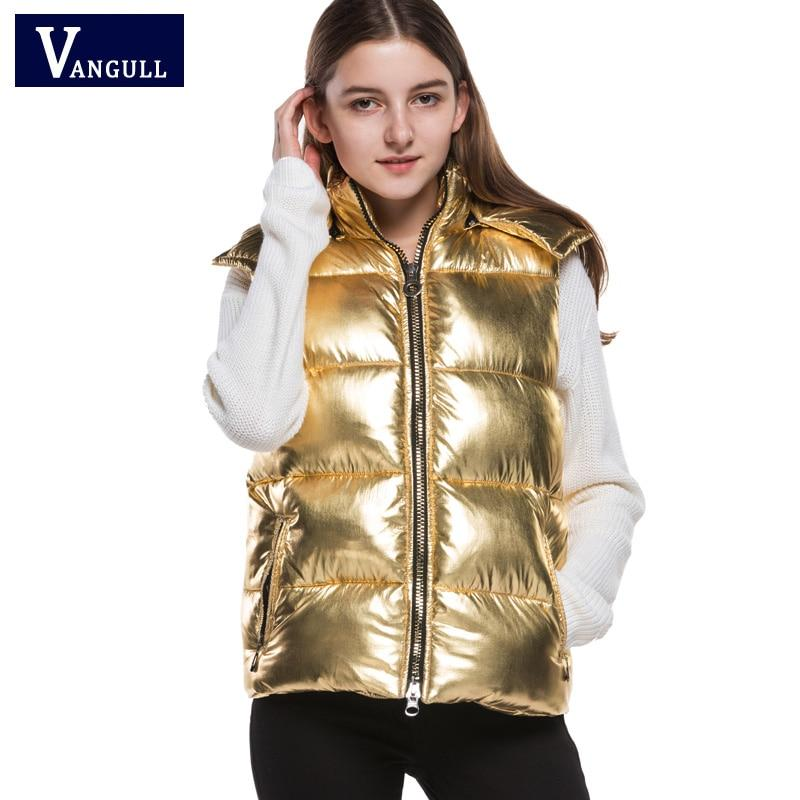 Winter Fashion Gold metal color Cotton Vest 2017 Women Patchwork Sleeveless Hooded Collar Casual Coat Colete Feminino Waistcoat