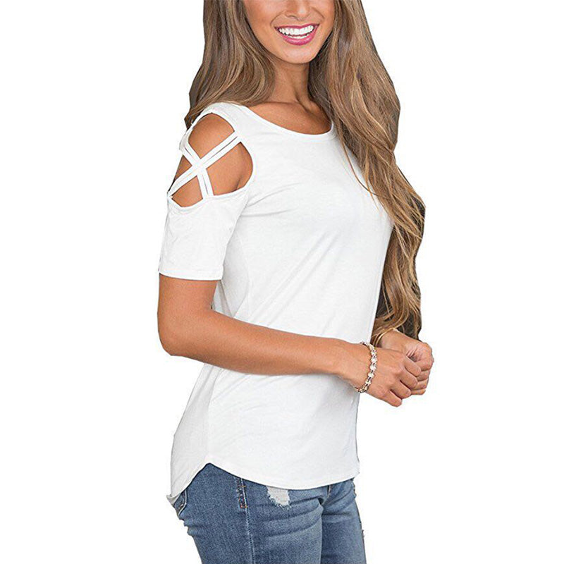 Women T Shirt Short Sleeve Tops Strappy Cold Shoulder Top Tee Women Short Sleeve O-neck Casual Top Tees Plus Size Women Clothing