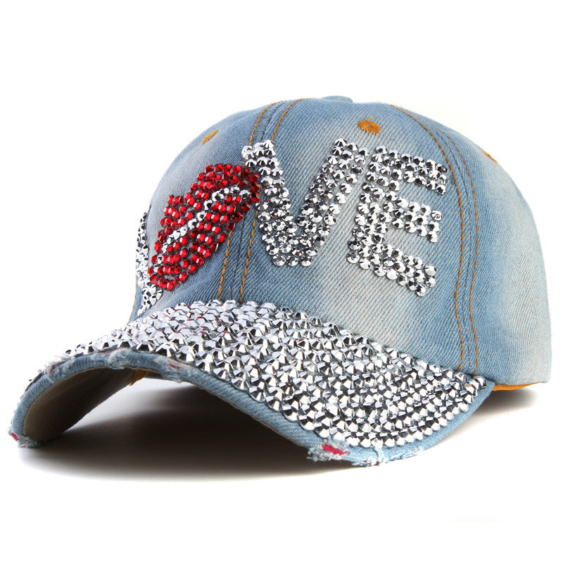 Baseball cap rhinestone cap love letter snapback hats for men and women
