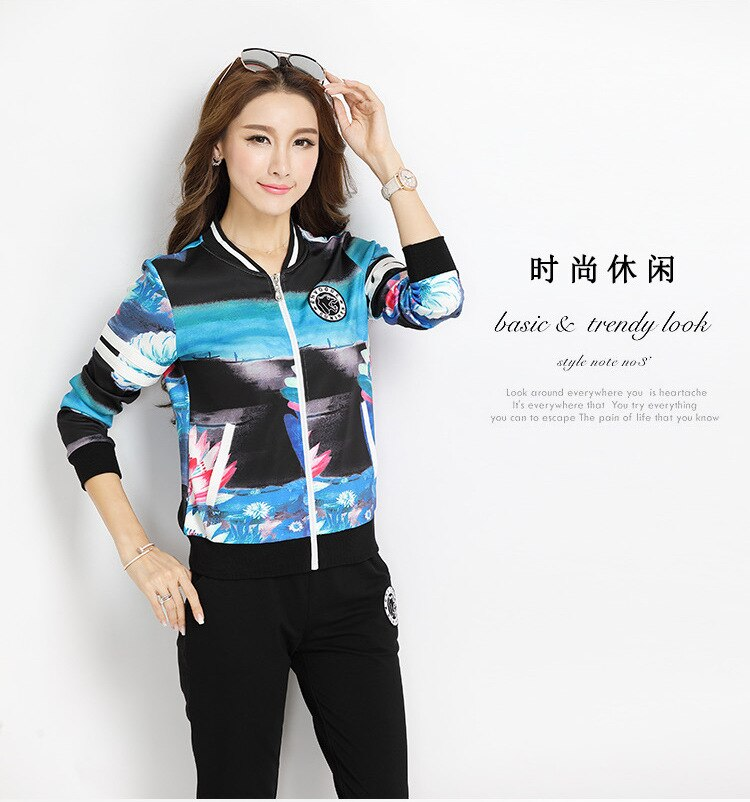 RLYAEIZ 2 Piece Set Autumn Tracksuit Women Casual Sporting Suits Printed Zipper Hoodies + Pants Female Sportswear