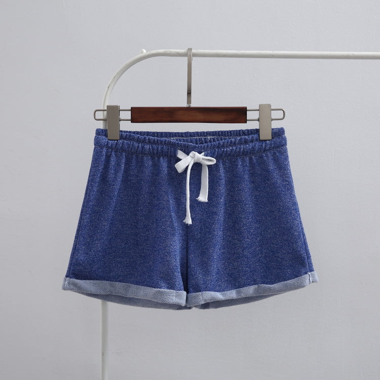Women Sports Shorts Summer European Causal Lady Cuffs Cotton Home Short Elastic Women's Fitness Shorts